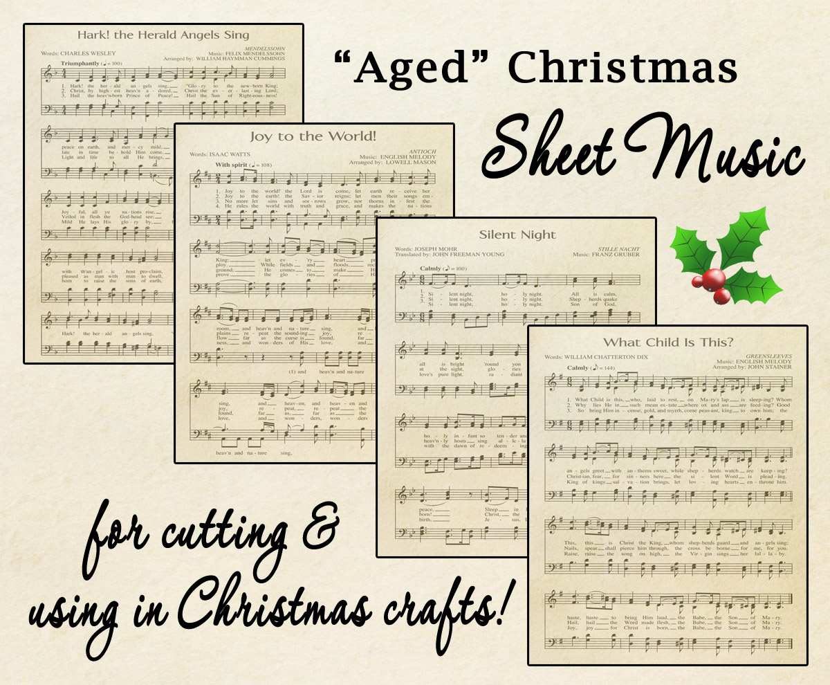 photo about Free Printable Vintage Christmas Sheet Music named Cost-free Printable \u201cAged\u201d Songs Sheets Celebrating Holiday seasons