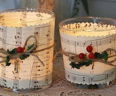 Candle Wrapped in Sheet Music
