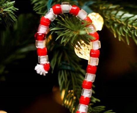 Candy Cane Beaded Ornament