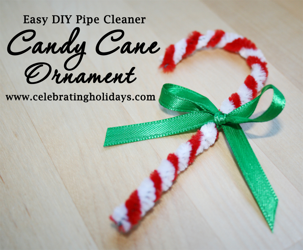 Candy Cane Pipe Cleaner Ornament Craft for Christmas