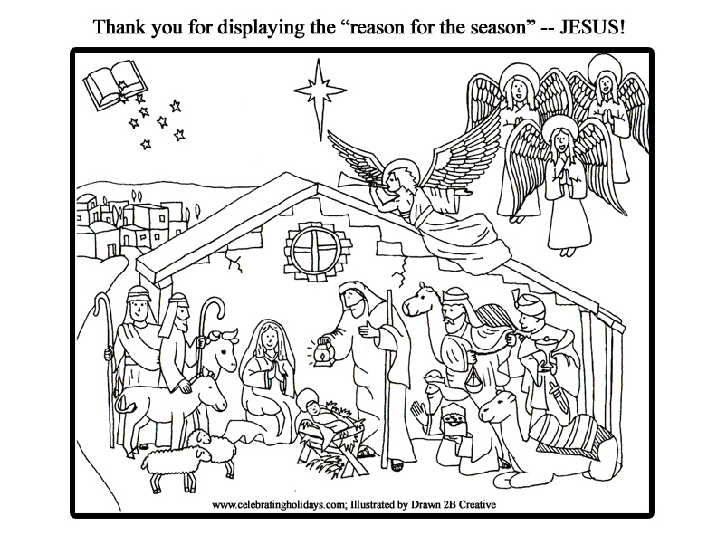 free nativity coloring page with words