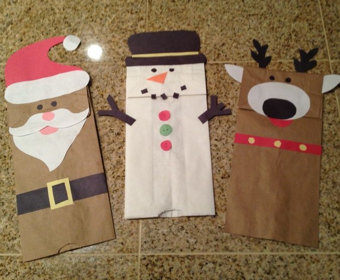Paper Bag Christmas Characters Craft