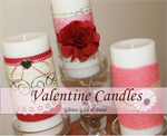 valentines day decorated pillar candles