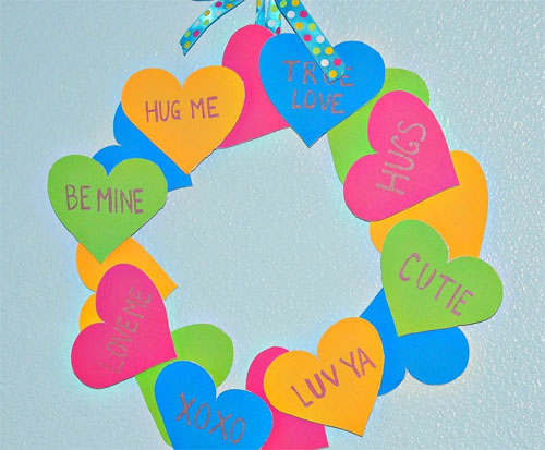 Paper Conversation Heart Wreath