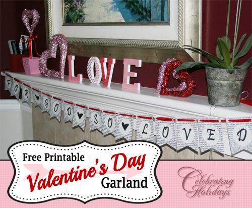 picture about Valentine Banner Printable named Valentines Working day Banner (Garland) Celebrating Vacations