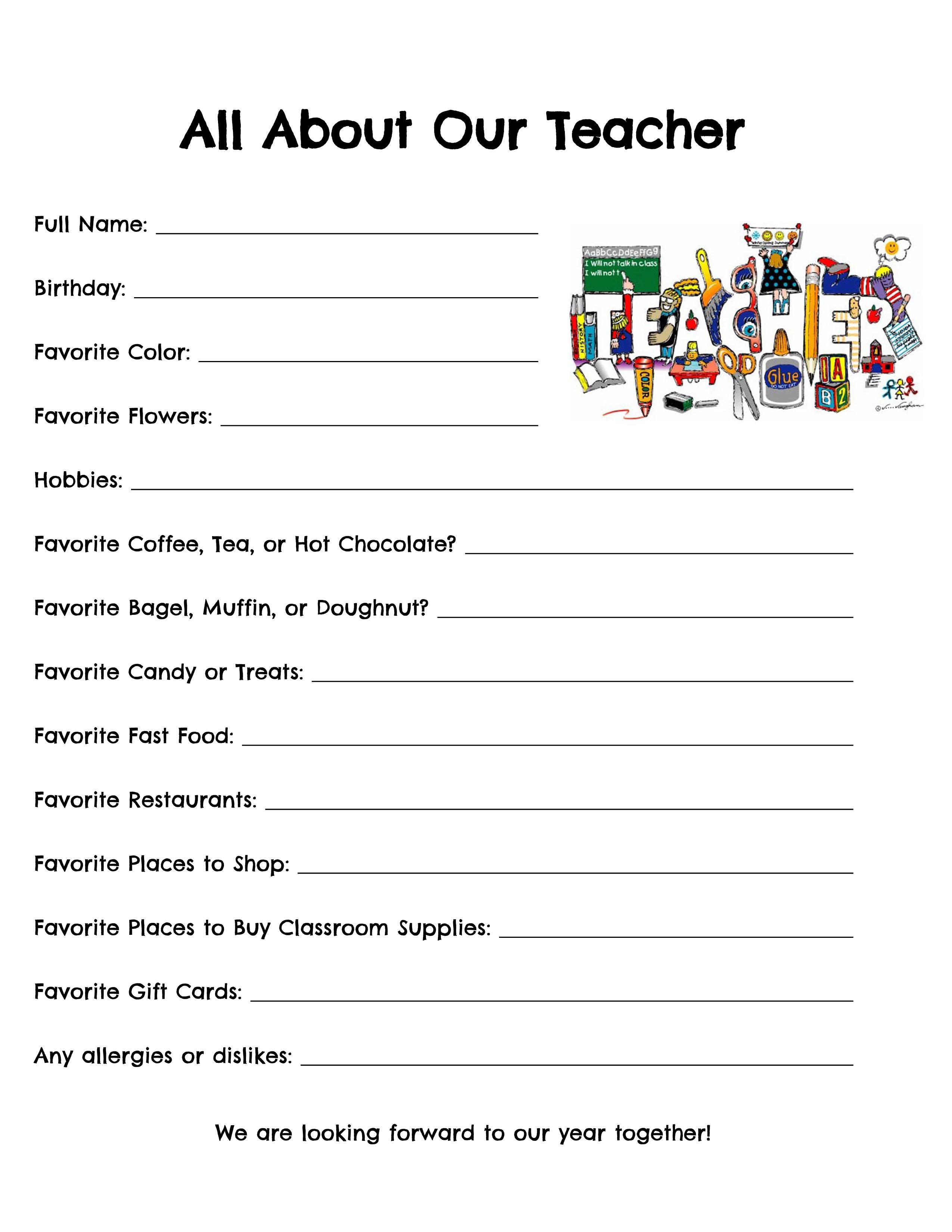 Teacher Questionnaire Celebrating Holidays