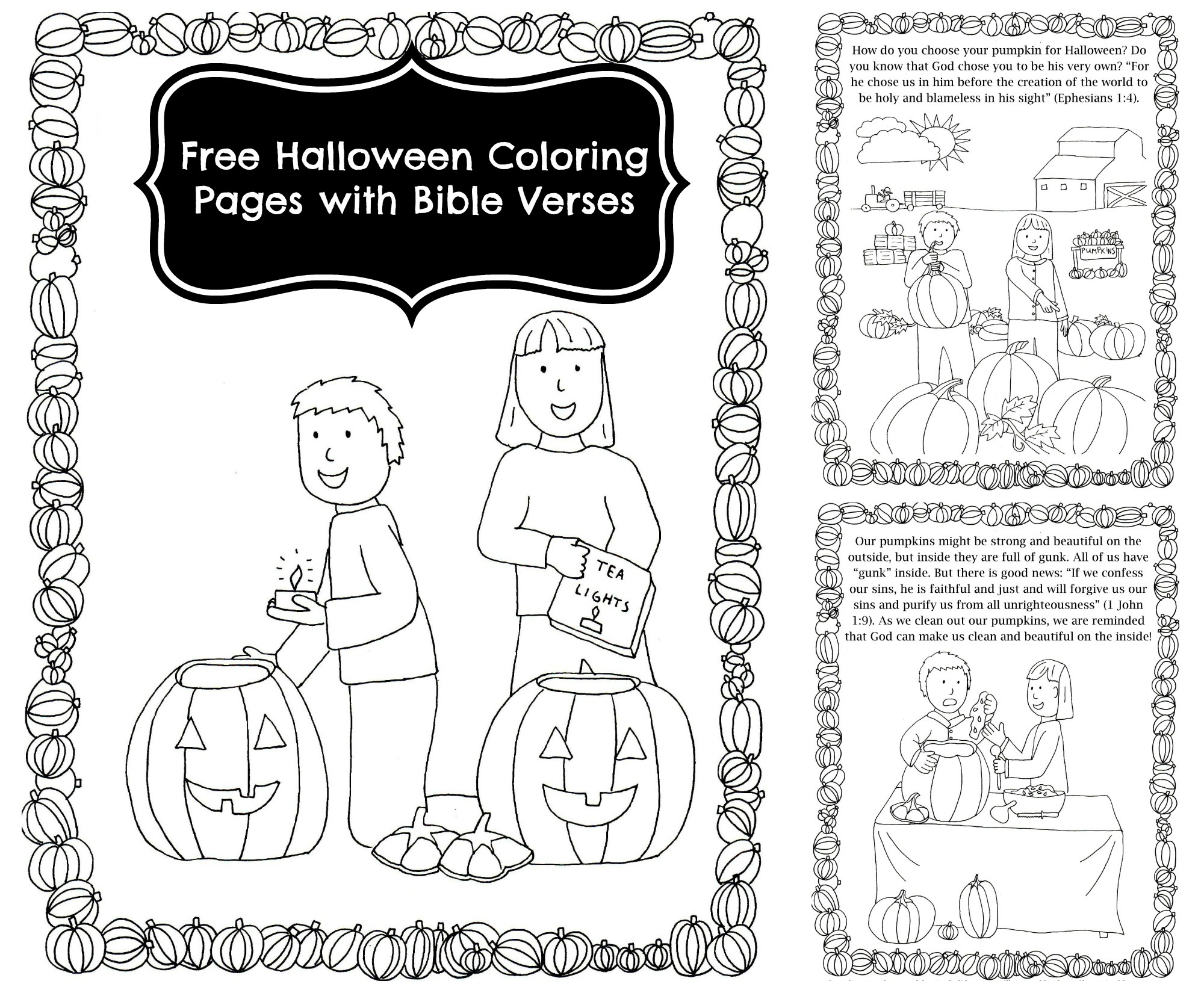 Pumpkin Carving Coloring Pages with Bible Verses for Halloween ...