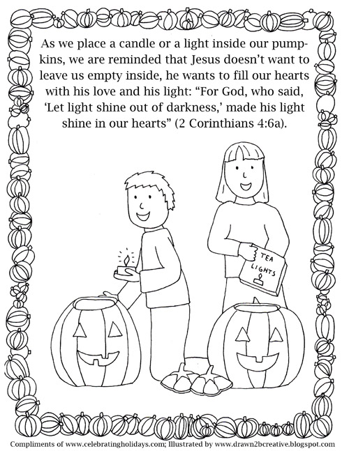 pumpkin carving coloring page with verses 4