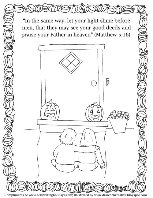 pumpkin carving coloring page with verses 5