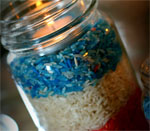 Candle with Patriotic Colored Rice