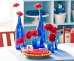 DIY Glass Bottle Centerpiece for July 4th