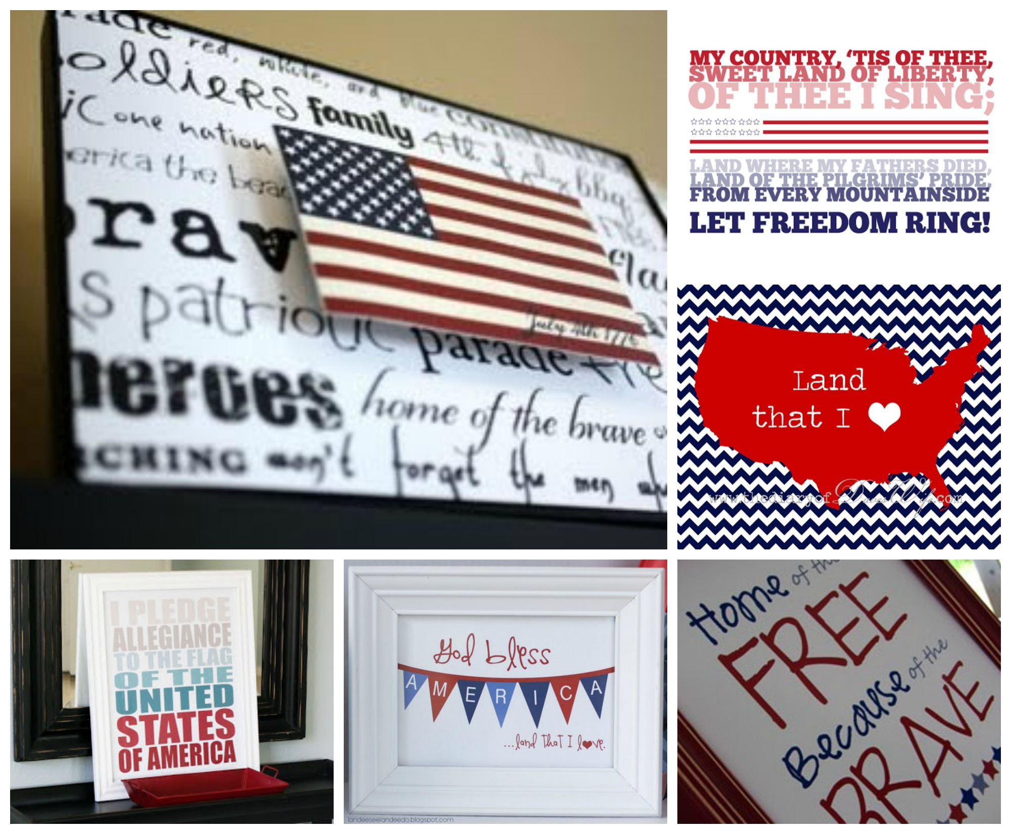 July 4th Free Printables for Framing