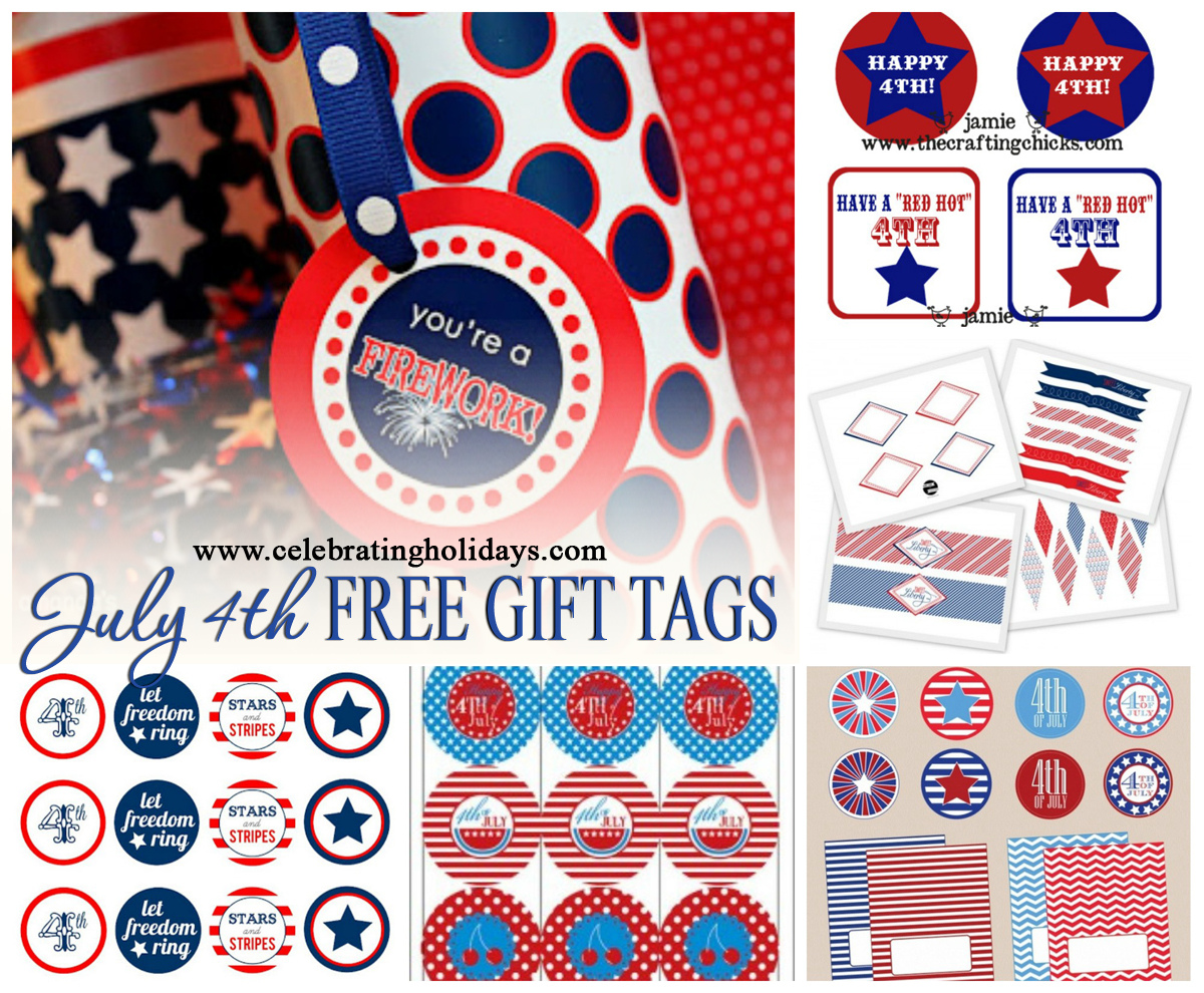 graphic regarding 4th of July Trivia Printable identify July 4th (Flexibility Working day) Cost-free Printable Present Tags