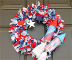 Rag Wreath with Firecrackers for July 4th