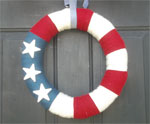 Yarn Wreath for July 4th