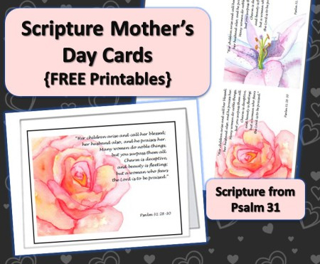 Printable Scripture Cards for Mother's Day