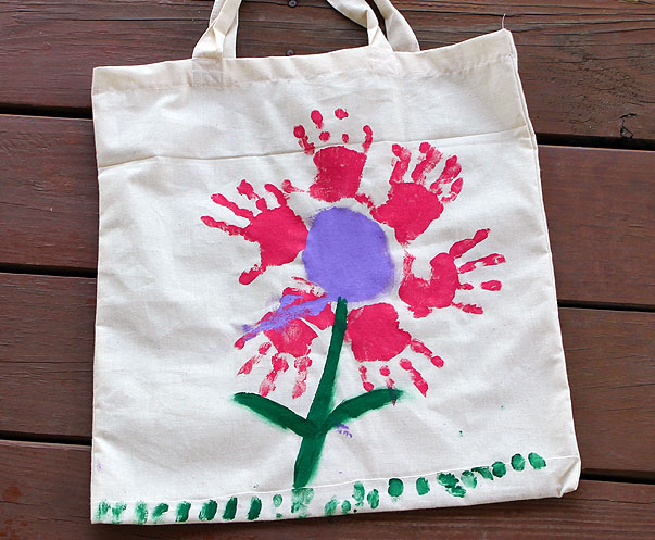Handprint Flower Tote for Mother's Day