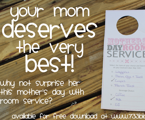 Room Service Door Hanger for Mother's Day