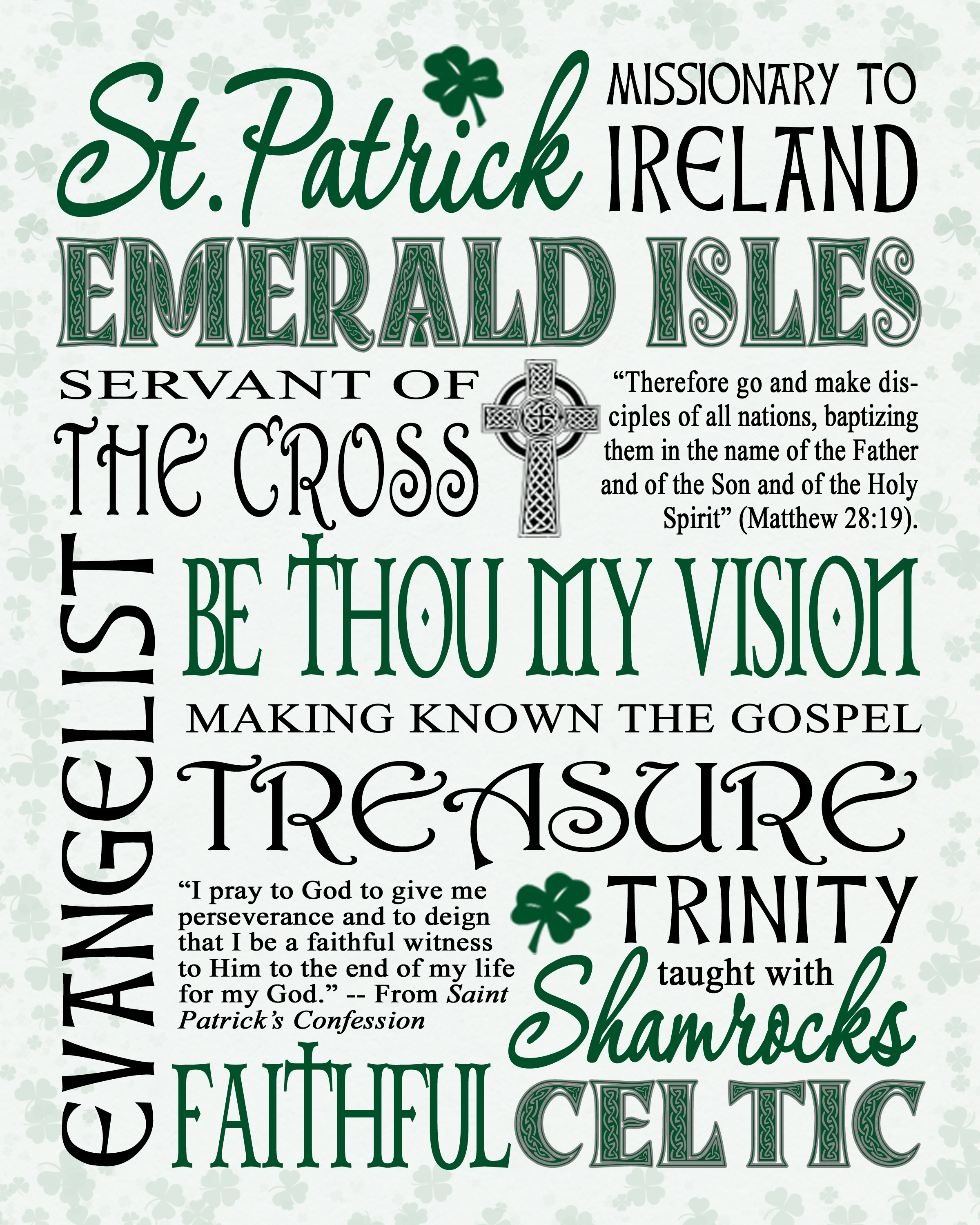Free Printable St. Patrick's Day Word Art