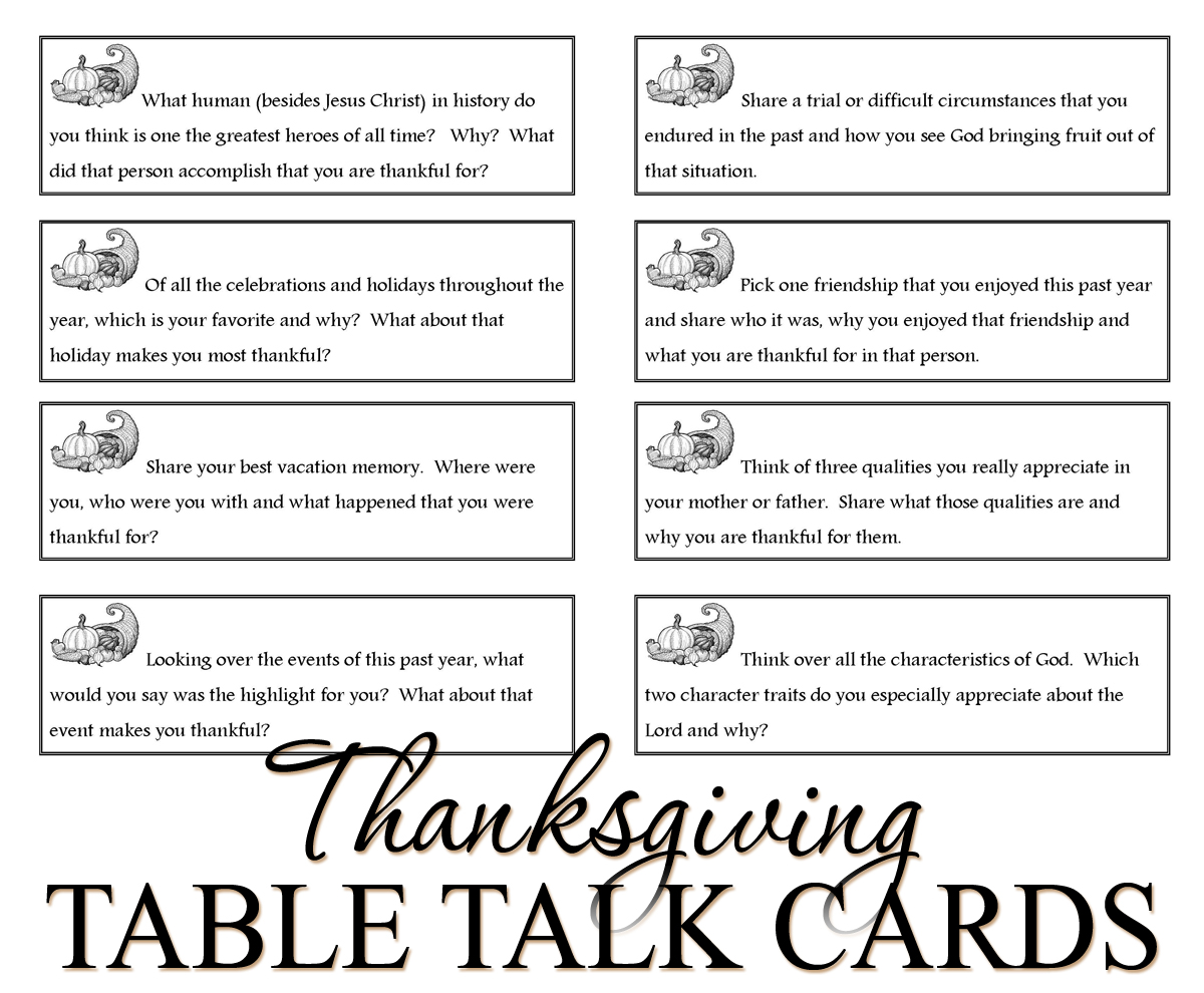 Table Talk Cards for Thanksgiving