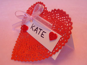 Doily Place Card Valentine's Day Craft