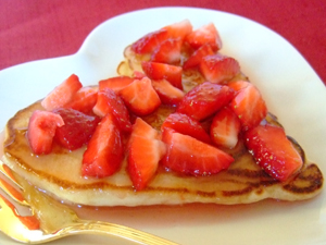 Heart Pancakes with Fresh Strawberry Syrup Recipe