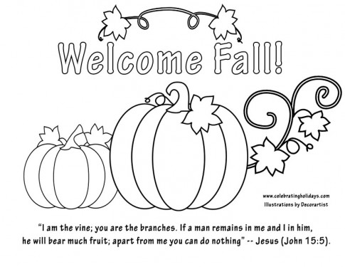 "first day of fall coloring pages | Free ""Welcome Fall"" Coloring Page with Bible Verse ..."