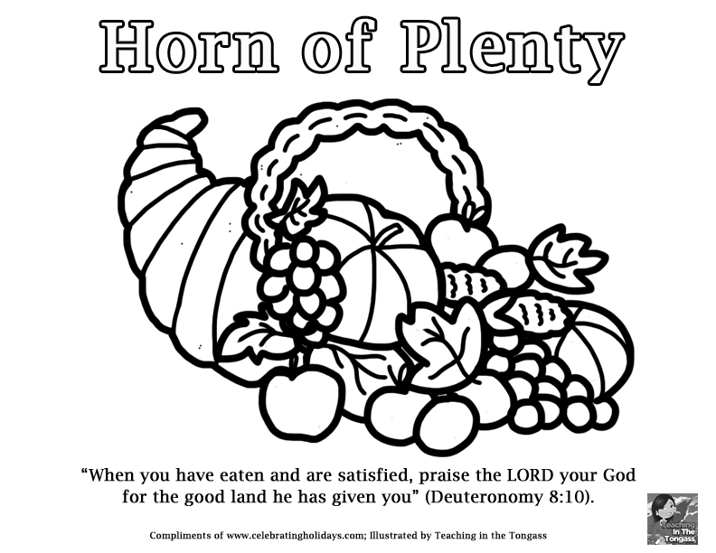 Horn of Plenty Coloring Page for Thanksgiving