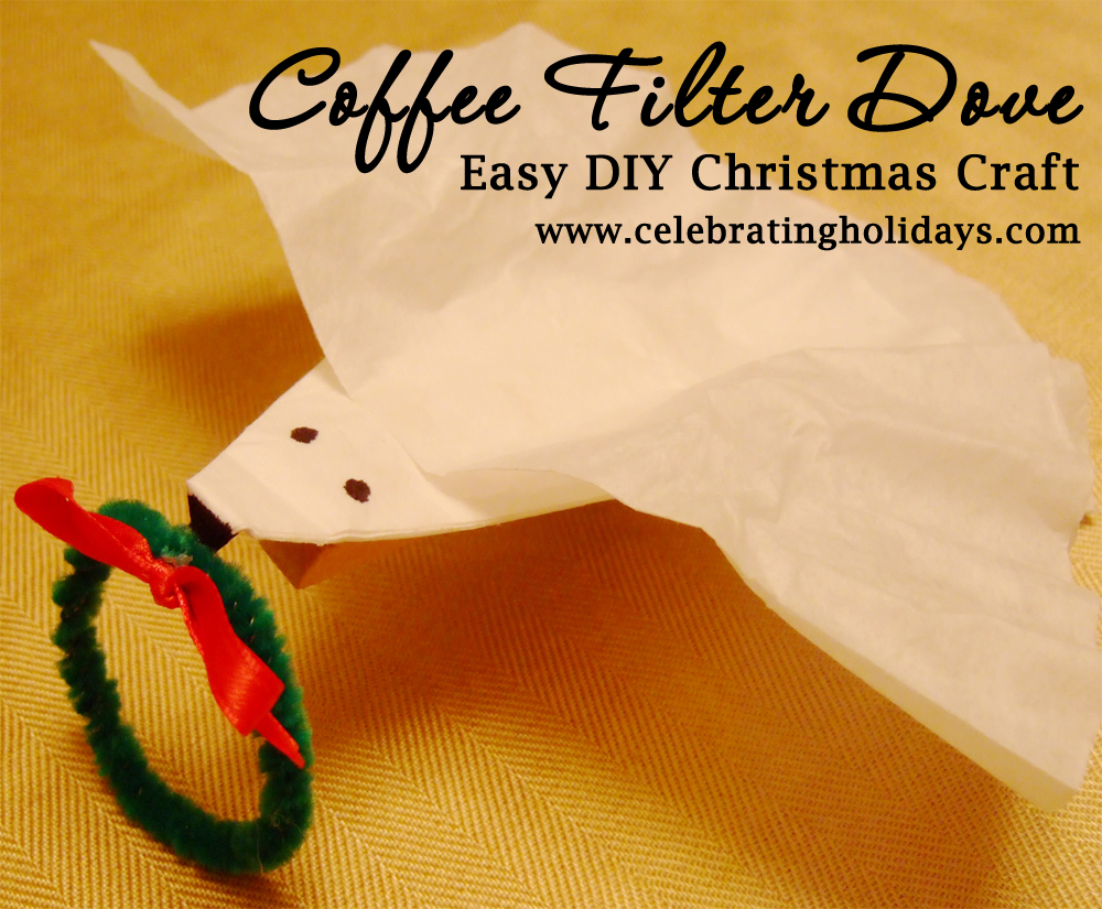 Coffee Filter Dove Christmas Craft